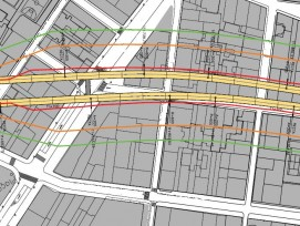 Iso-líneas de vibración a ambos lados de la infraestructura durante la futura explotación comercial de la infraestructura